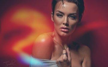 hand, girl, look, model, shoulders, face, rosie robinson, jack russell