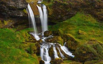 скалы, камни, водопад, поток, мох, исландия