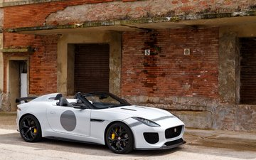 wall, white, bricks, car, f-type, jaguar