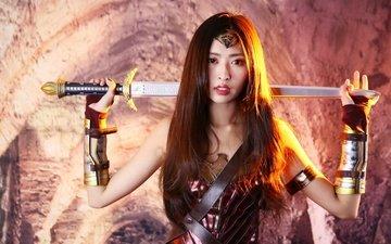 style, girl, background, sword, look, face, armor, long hair, cosplay