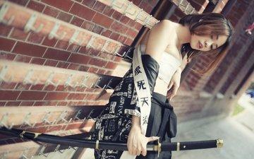 style, girl, sword, look, model, hair, face, katana, asian