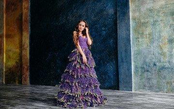 стиль, девушка, платье, взгляд, модель, волосы, лицо, платье из цветов