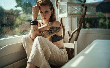 стиль, девушка, поза, взгляд, модель, тату, волосы, лицо, окно, браслеты, брюки, рыжеволосая, julia wendt