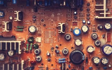 текстура, винтаж, плата, поверхность, микросхема, процессор, боке, транзисторы