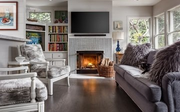tv, books, chair, fireplace, sofa, living room