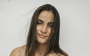 girl, smile, look, model, hair, face