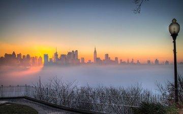 morning, fog, the city, usa, manhattan
