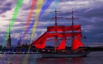 the evening, ship, russia, saint petersburg, scarlet sails, festival