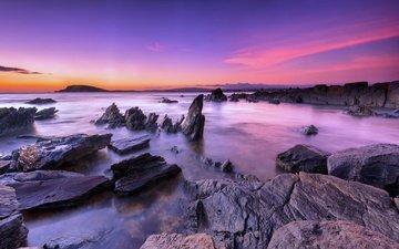 небо, вечер, природа, камни, берег, закат, горизонт, океан, валуны