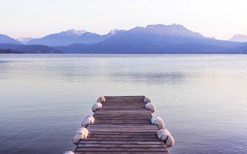 вечер, озеро, горы, пирс