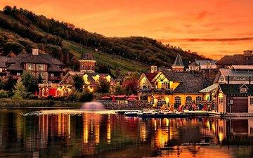 вечер, озеро, закат, склон, гора, дома, фонтан, набережная, пруд, канада, онтарио, collingwood