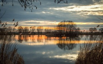 the sky, trees, the evening, river, nature, reflection, autumn