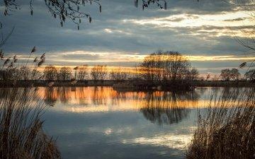 небо, деревья, вечер, река, природа, отражение, осень