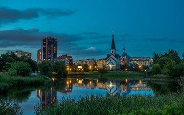 трава, вечер, отражение, россия, церковь, пруд, здания, санкт-петербург, пулковский парк, даниил дроздов