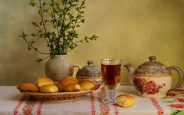 branches, table, bread, cup, vase, tea, glass, cakes, still life, tablecloth, teapot, muffin
