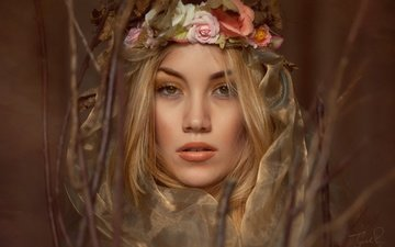 girl, blonde, branches, look, model, face, wreath, jack russell, sarah kempson