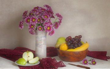 flowers, grapes, fruit, lemon, bouquet, apple, vase, chrysanthemum, banana, still life, pear