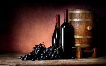 grapes, wine, bottle, barrel, alcohol, red