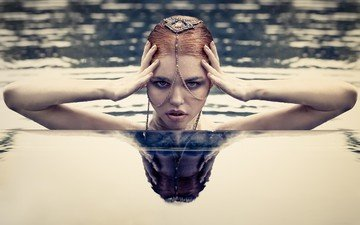water, decoration, girl, reflection, look, model, hair, face, hands, hairstyle