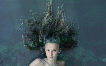 вода, девушка, взгляд, волосы, лицо, русалка