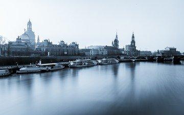 вода, города, город, германия, дрезден, эльба, fauenkirche