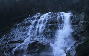 вода, природа, камни, скала, водопад, поток, обрыв