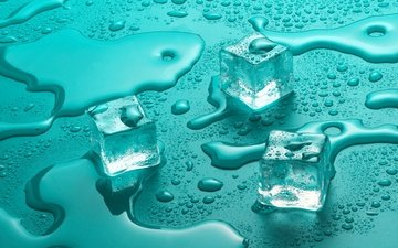 water, drops, ice, cubes, glass