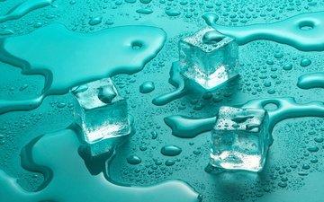 вода, капли, лёд, кубики, стекло, капли воды