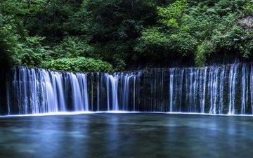 деревья, вода, река, камни, водопад, поток