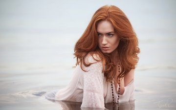 water, girl, look, red, model, hair, face, redhead, jack russell, jenny o'sullivan