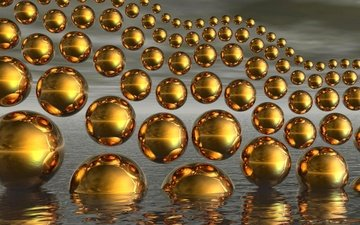 water, balls, wave, reflection, background, gold