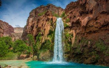 вода, скала, водопад, сша, гранд-каньон, водопад хавасу