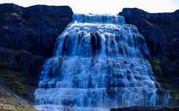 вода, водопад, обрыв, течение