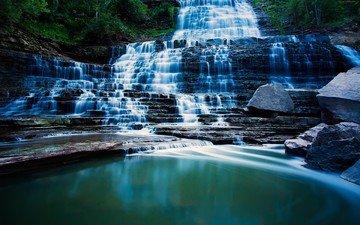 камни, водопад, поток, канада, онтарио, каскад, альбион-фолс