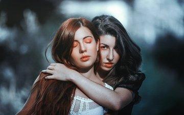 взгляд, девушки, волосы, лица, макияж, модели, пирсинг, закрытые глаза, livay, bendita, f / estival