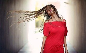девушка, модель, волосы, лицо, взмах, красное платье, джованни zacche