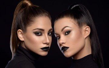 portrait, look, girls, lips, makeup, model