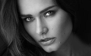 girl, portrait, look, black and white, hair, lips, face, karolina