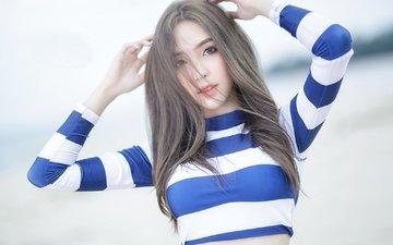 девушка, взгляд, модель, волосы, лицо, руки, азиатка