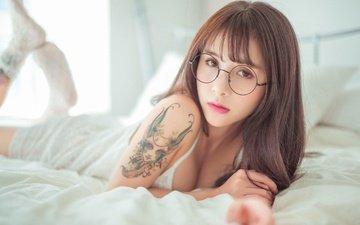 girl, look, glasses, model, tattoo, hair, face