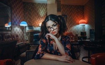 girl, look, glasses, model, room, hair, lips, face, lamp, neckline