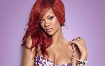 girl, look, face, singer, bracelets, rihanna, neckline, red hair