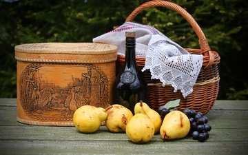 greens, grapes, fruit, table, garden, basket, wine, bottle, tablecloth, pear, bokeh