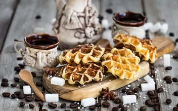 grain, coffee, cup, sugar, cakes, waffles, star anise