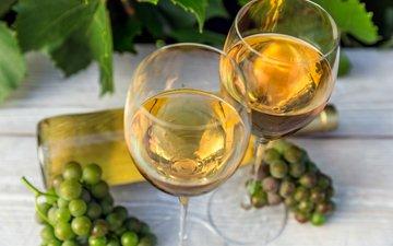 листья, виноград, вино, бутылка, бокалы