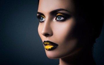 девушка, фон, портрет, взгляд, модель, губы, лицо, макияж, yna