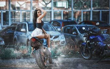 girl, brunette, look, model, motorcycle, bike, ass, denim shorts