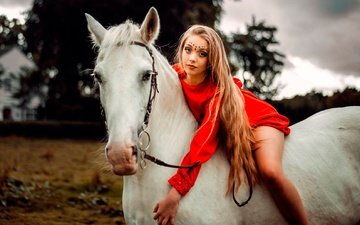 horse, girl, dress, pose, makeup, hairstyle, in red, bokeh, rider, carlos