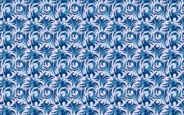 текстура, синий, узор, белый, завитушки