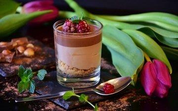 мята, мороженое, тюльпан, шоколад, десерт